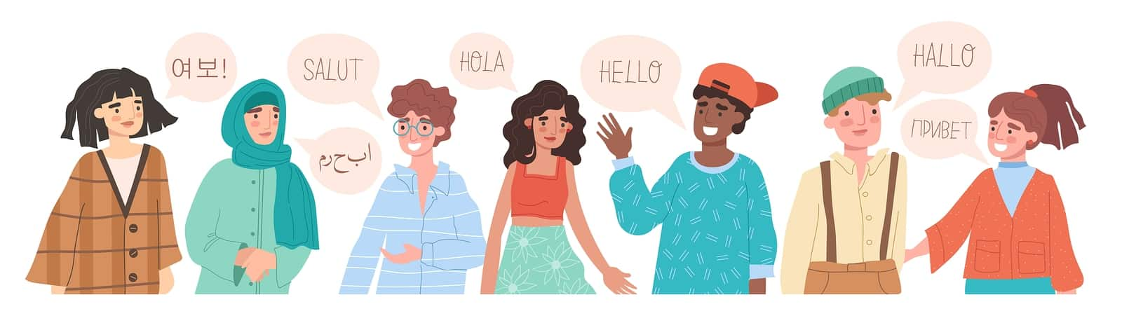 Illustration of people speaking different languages