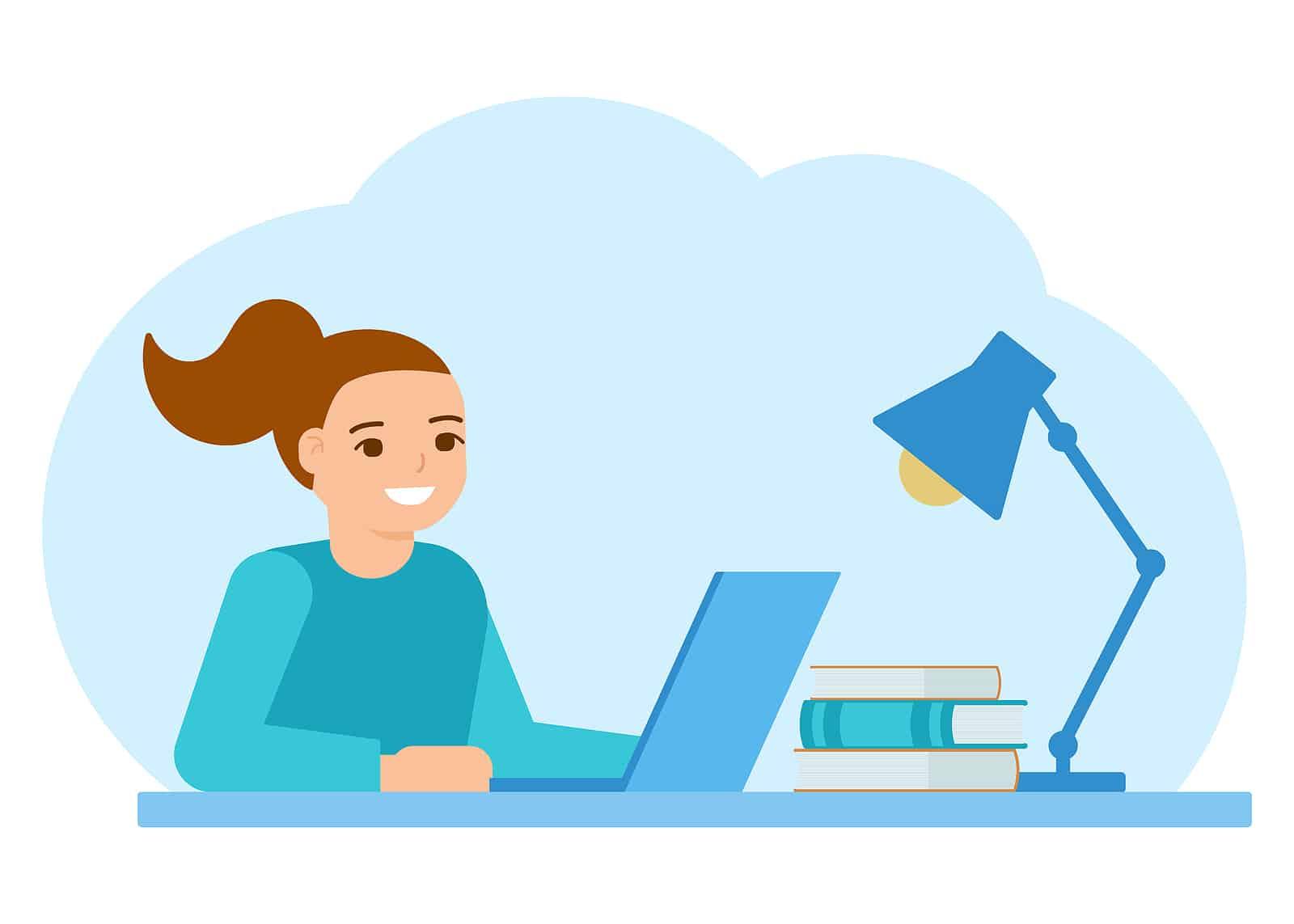 Illustration of girl studying at a desk