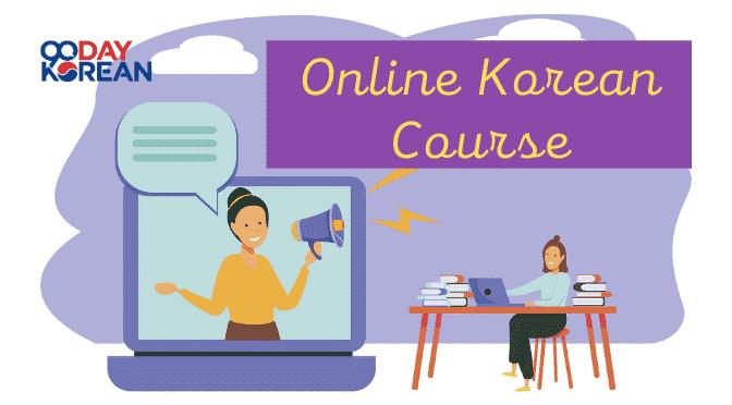 Student learning Korean online