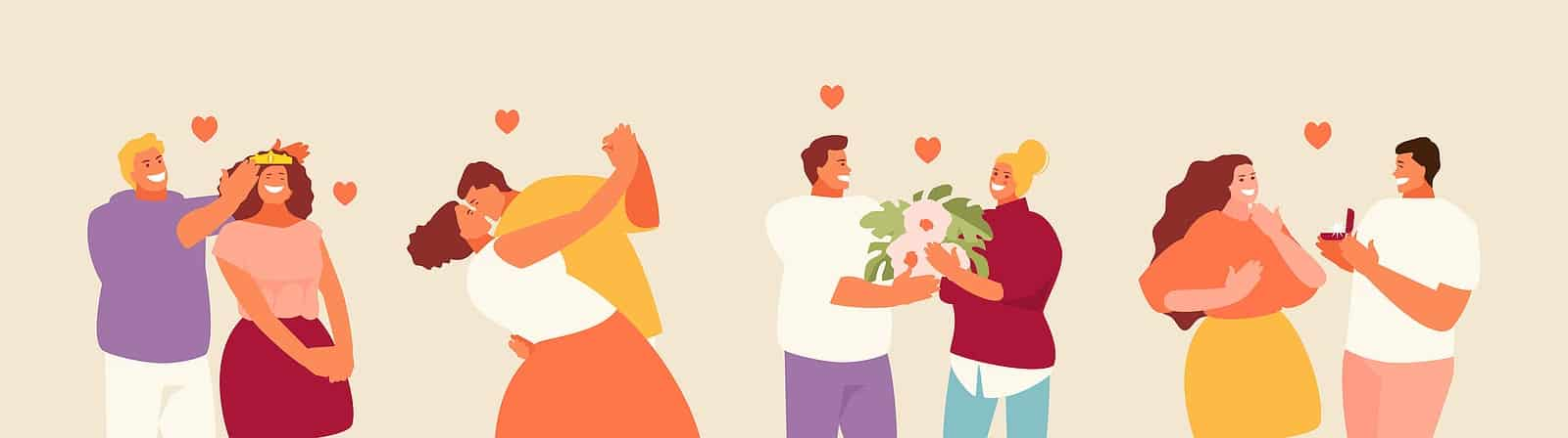 Illustration of 4 different couples in romantic situations