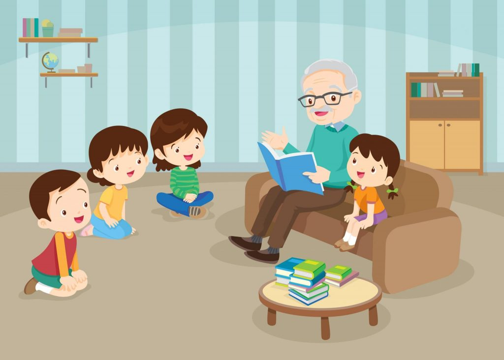 Old man reading a storybook to four children