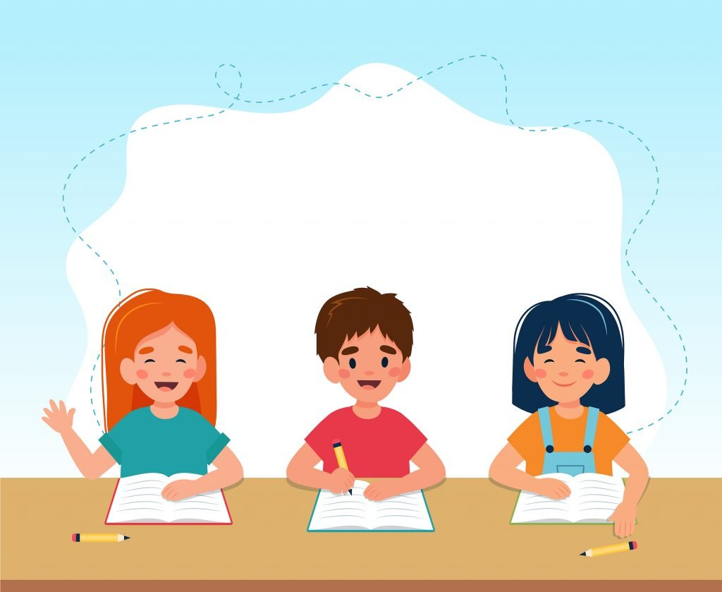 3 students writing on a paper while sitting down