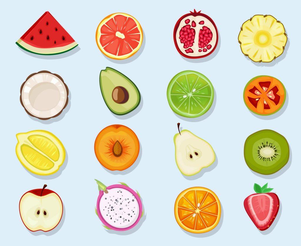 Half fruits circle icons. Cute cartoon healthy vegan natural products plants food orange lemon apple vector clipart set. Food healthy, half organic freshness, fresh ripe natural illustration