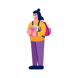 Happy female student with backpack and stack of books
