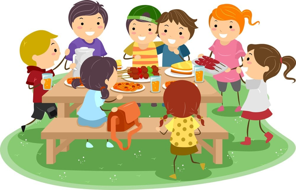 kids eating barbecue outside