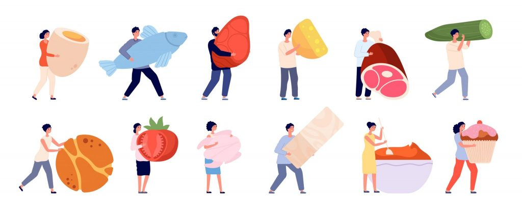 Tiny people with food. Flat foods, friends cooking garden vegetables. Female eating and products preparation, healthy dish vector. Mini character with fish and meat, fruit and vegetable illustration