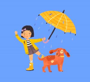 Girl with Umbrella and Dog