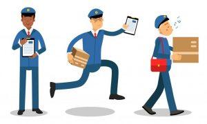 A postman running and singing while walking