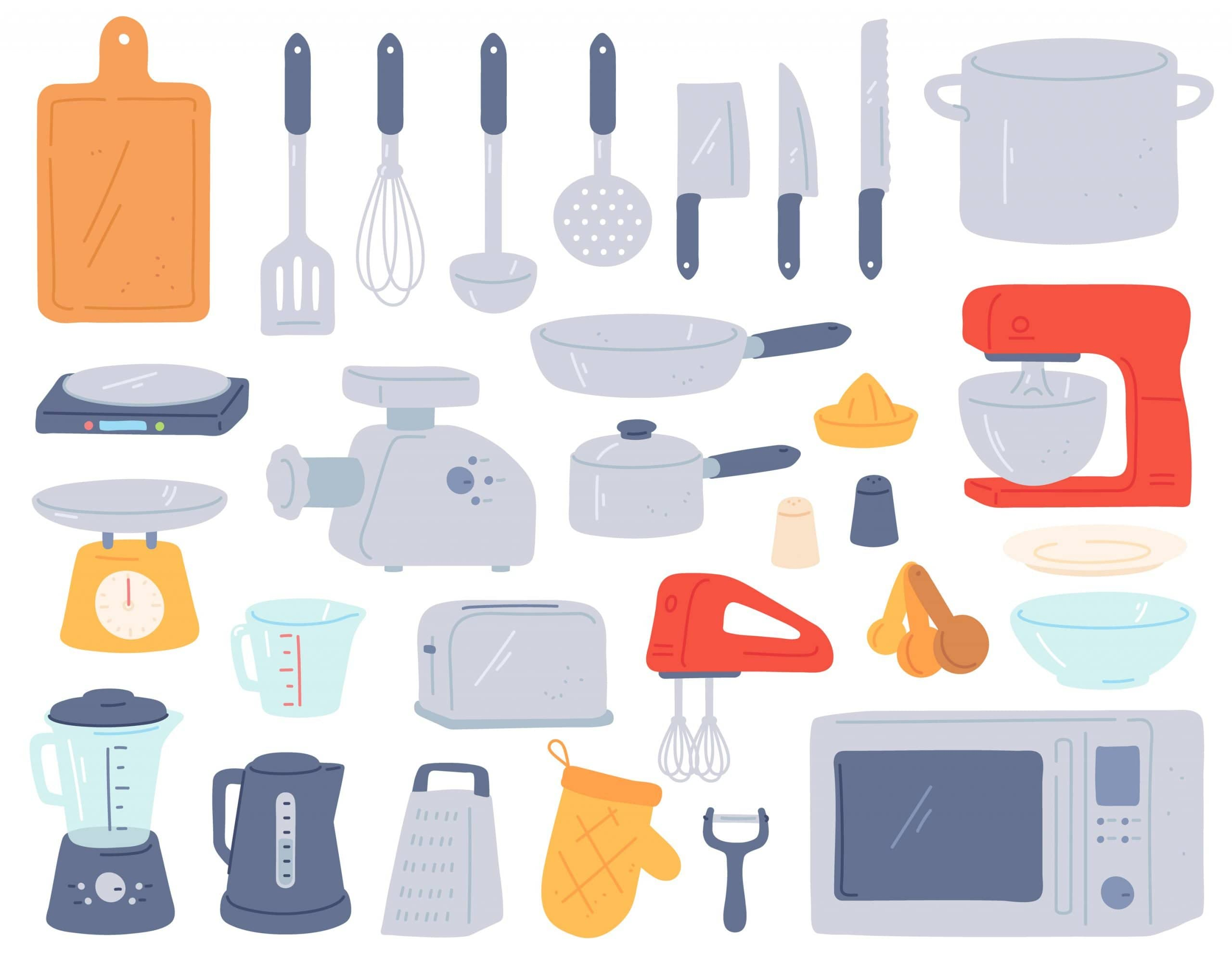 Kitchen tools. Cooking utensil and electric appliances for baking oven, mixer, scales, mincer. Home cookware in minimalist style vector set. Toaster, jar for water and glass, frying pan and saucepan