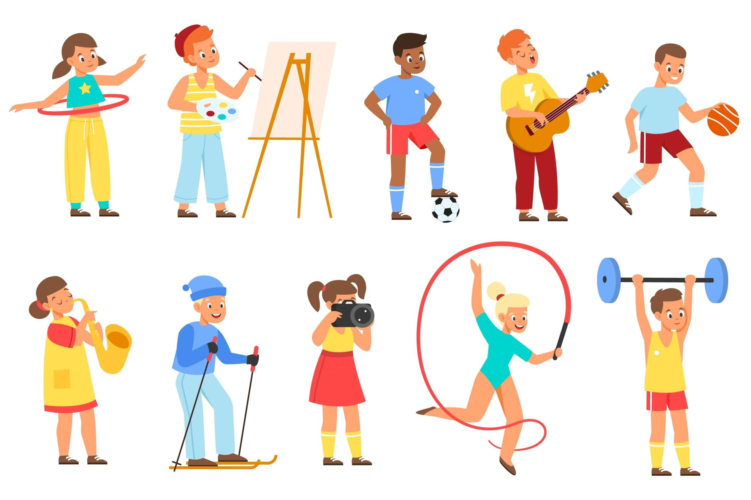 Kids hobbies. Young athletes, musicians and artists, teenagers hold different objects, children activities and interests. Sports, drawing and leisure time. Vector cartoon flat isolated set